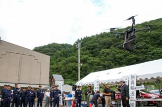 ドローンを使って上空からの偵察や物資輸送を行った宮古市総合防災訓練