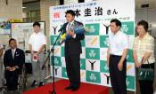 水本選手「メダル目指す」 五輪カヌー代表、矢巾町役場訪れ誓う