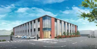 県対がん協会の本部事務所と検診センターが入る新施設の完成予想図(同協会提供)