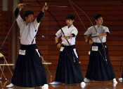 花巻北26年ぶりV 高校選抜弓道県予選・男子団体