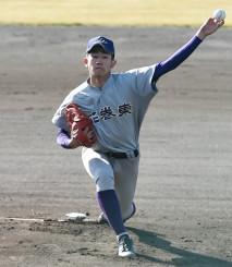 一関学院-花巻東 8回2失点と好投した花巻東の中居颯真=滝沢総合公園球場