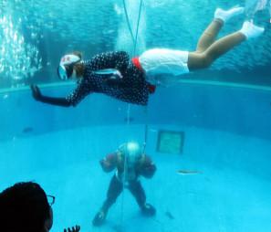 円柱水槽で素潜りを披露する海女と南部ダイバー