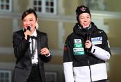 陵侑「夢は五輪で金」 スキー連盟イベント、松任谷さんに語る