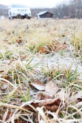草の上にうっすらと積もった雪。山間部には一足早く冬が訪れた=8日午前7時、八幡平市・安比高原