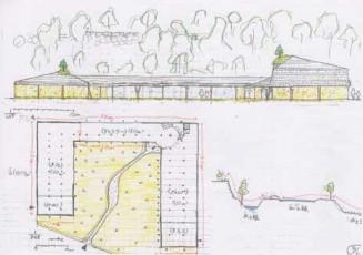 ギャラリーやカフェなどからなる収益施設のラフスケッチ。上段は施設を横から見た図、下段は鳥瞰(ちょうかん)図となる