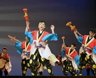 勇壮な踊りを披露する沼宮内七ツ踊り