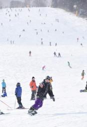 ゲレンデで雪の感触を楽しむ来場者