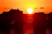 冷え込み「だるま朝日」現る 洋野・種市