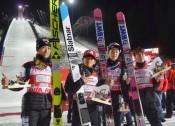 W杯ジャンプ、日本は団体3位 表彰台は今季初