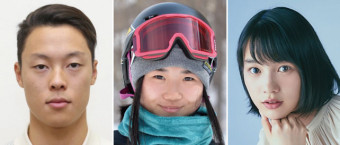右から、のんさん、岩渕麗楽さん、小林陵侑さん