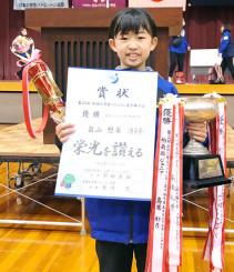 女子シングルス5年生以下で栄冠に輝いた畠山想来(ハイタッチJBC)