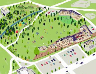 中央公園整備事業の配置計画イメージスケッチ。右上が4月開所予定の民間保育園(盛岡市提供)