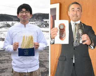 ㊨短角牛の生ハム「セシーナ」をPRする府金伸治社長、㊧グランプリ受賞を喜ぶ馬場淳代表
