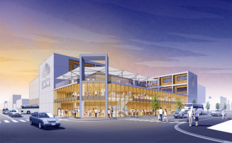 新盛岡バスセンターのイメージ図。左側は国道106号で、向かい側に旧ななっくがある(盛岡市提供)