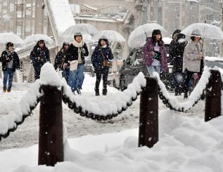 大雪となった盛岡市内。昼すぎに雨に変わり、路面状況は悪化した=8日、同市開運橋通
