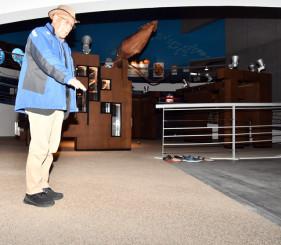 特殊な床材が使われているため、専門業者による洗浄が必要な展示エリア=山田町船越・鯨と海の科学館