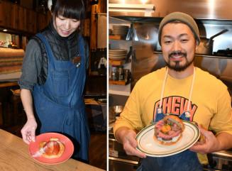 ㊧リンゴの形に仕上げたカフェ店「はーでぃ・がーでぃ」の「林檎を食べるアップルパイ」㊨江刺牛を使ったGROWの「激アツ江刺バーガー」