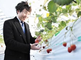 モノのインターネットや地熱を活用したハウスで栽培した「ゆけむりいちご」の初出荷を喜ぶ兒玉則浩社長
