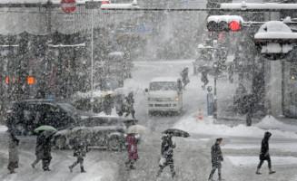 吹雪となった盛岡市中心部。暖冬傾向が続く中、約半月ぶりに雪景色に戻った=5日、同市大通