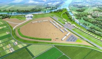一関遊水地内の湛水池に整備を計画する多目的公園のイメージ図(一関市提供)