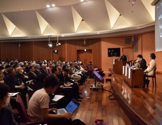 ノーベル物理学賞の受賞者らがILCの重要性を説いた国際シンポジウム=8日、東京都文京区・東京大
