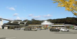 「広域道の駅」のイメージ図。左側は三陸道の高架橋(久慈市提供)