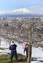 岩手山の雪景色を背に、剪定に励む吉田竹次さん、洋子さん夫妻=20日、盛岡市東安庭