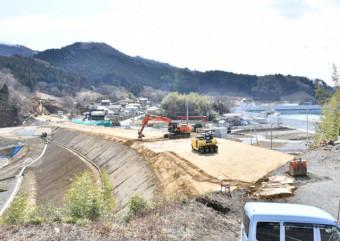 【2020年2月29日】 高台の住宅地につながる新県道の整備が進む大船渡市赤崎町