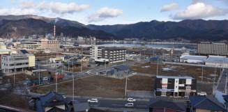 現在の大船渡市内。東日本大震災の津波で受けた被害からの復興が進む