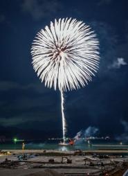 東日本大震災の犠牲者をしのんで打ち上げられた花火「白菊」=11日午後7時、釜石市鵜住居町