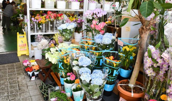 色とりどりの花が並ぶ生花店。催事自粛の影響で需要が落ち込む中、消費拡大に向けた工夫が続く=12日、盛岡市八幡町