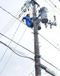 火花が出た電線の処置をする東北電力の社員=21日午後2時4分、盛岡市津志田南