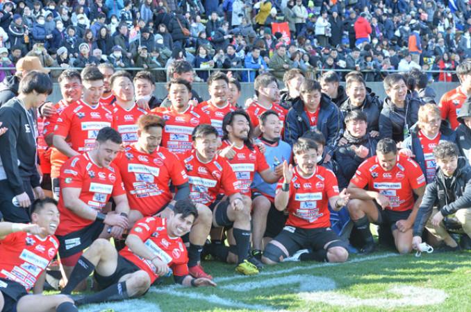 TCL3季目にチーム最高順位の4位になった釜石SWの選手たち=1月、東京・秩父宮ラグビー場
