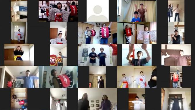 ウェブ会議アプリを通して踊る「加藤家」メンバーの画面