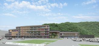 葛巻町役場新庁舎のイメージ図(町提供)