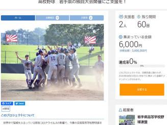 県高野連が始めたクラウドファンディングのサイト画面