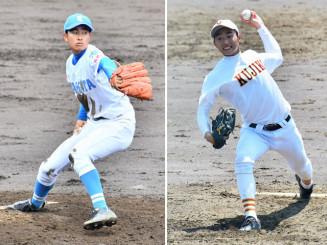 県大会を盛り上げる左右の好投手。高田の佐藤真尋(左)と久慈の間峠恒成