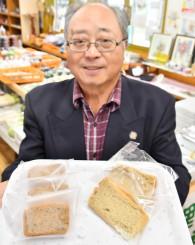 23日に新発売するそば粉を使ったシフォンケーキ(右)とパウンドケーキ