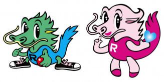 岩泉町の龍泉洞のPRキャラクター・龍ちゃん(左)と泉ちゃん