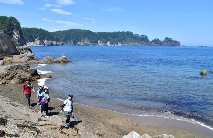 夏空の下、真っ青な海沿いを歩くトレイル部員=11日、宮古市音部