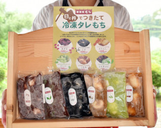 通販事業の始動に合わせて展勝地が発売した新商品「冷凍タレもち」
