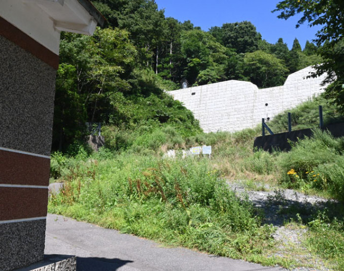 住宅地の裏手にある新町の沢砂防ダム。短時間で大量の水が流出し住宅に被害を及ぼした=宮古市横町