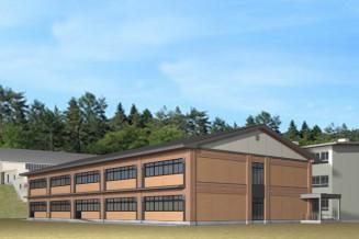伊保内高の新しい管理教室棟の完成イメージ。県産木材を活用して建設する