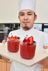 調理用トマト「すずこま」を使ったゼリー。濃厚なトマトの風味が口いっぱいに広がる