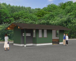 茂市駅新駅舎の完成イメージ(JR盛岡支社提供)