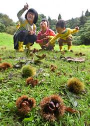 「大きなクリの木だね」。木を見上げ、笑顔を見せる子どもたち=27日、紫波町佐比内