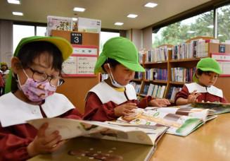 夢中になって絵本を読む黒沢尻幼稚園の園児