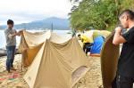 無人島キャンプ誘客へ実験 山田町・オランダ島で専門家ら検証