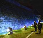 石垣青く照らし、糖尿病予防啓発 岩手公園でスタート
