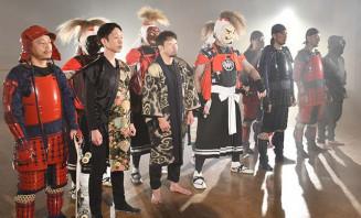 動画のワンシーンの収録に臨む八重樫東さん(前列左から3人目)ら出演者
